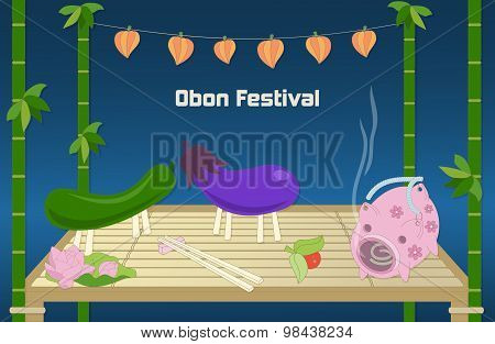 Japanese summer Bon Festival background.