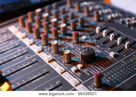 sound music mixer control panel close up