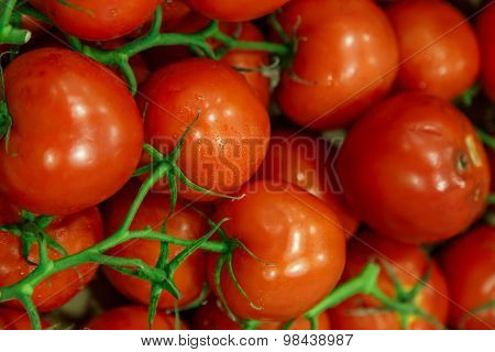 Red Group Of Tomatoes With Green Insertion