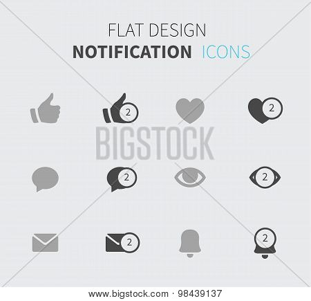 Notification Icons In Flat Design