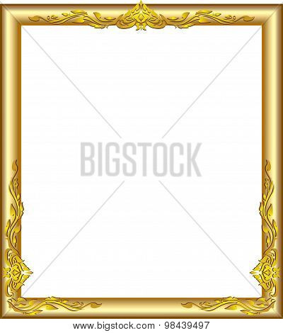 Gold Frame Floral Line Art Design Luies