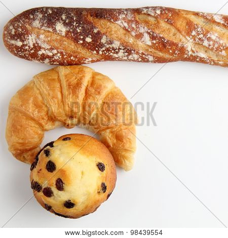 Croissant Bakery With Brade Baguette Muffin On White Background