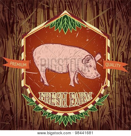 organic farm fresh. Vintage label with pig on wooden grunge background. Hand drawn vector illustrati
