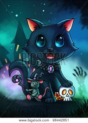 Cat And Mouse Halloween Illustration