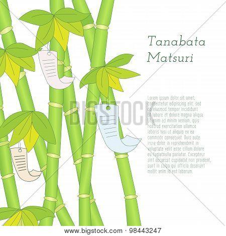Tanabata Festival hand drawn bamboo tree with wishes written on Tanzaku.