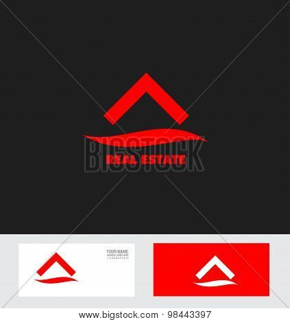 Red Real Estate House Roof Logo Icon