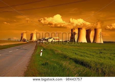 Nuclear power plant Dukovany in Czech Republic Europe in the sunset