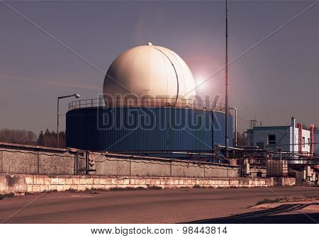 Bio gas plant in the sunset