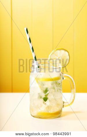 Homemade Lemonade In A Mason Jar