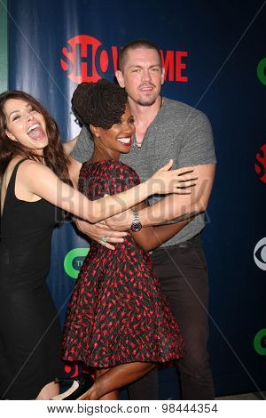 LOS ANGELES - AUG 10:  Sarah Shahi, Steve Howey, Shanola Hampton at the CBS TCA Summer 2015 Party at the Pacific Design Center on August 10, 2015 in West Hollywood, CA