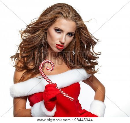 Smiling girl in santa clause costume