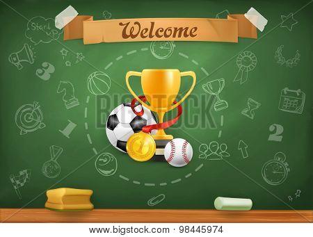 School sports, infographics vector background