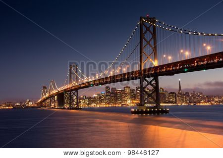 Dusk over San Francisco Bay Bridge and Skyline