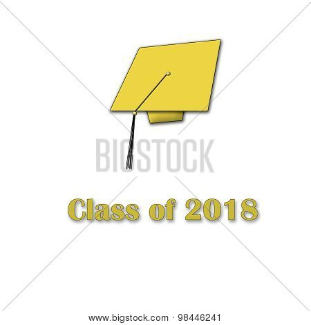 Class of 2018 Yellow on White Single Large