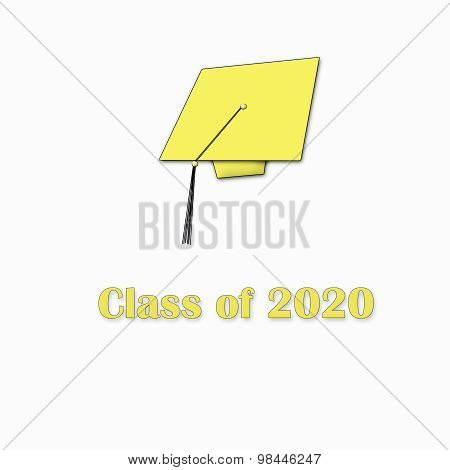 Class of 2020 Yellow on White Single Large