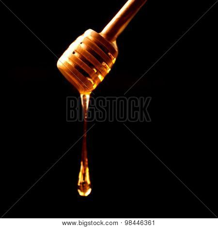 Honey Stick With Flowing Honey Over Dark Background Close Up