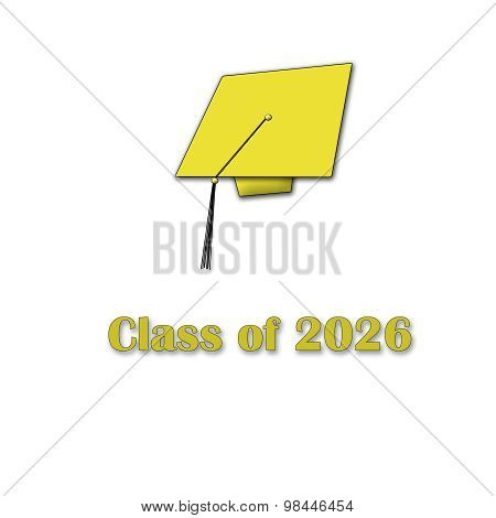 Class of 2026 Yellow on White Single Large