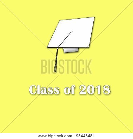 Class of 2018 White on Yellow Sinlge Large