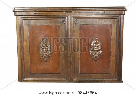 Detail vintage wooden art Nouveau cabinet isolated on white background.