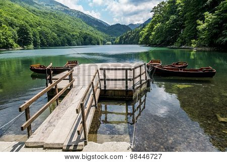 Boats On Biogradska Lake In  National Park Biogradska Gora