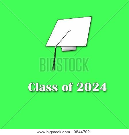 Class of 2024 White on Green Single Large