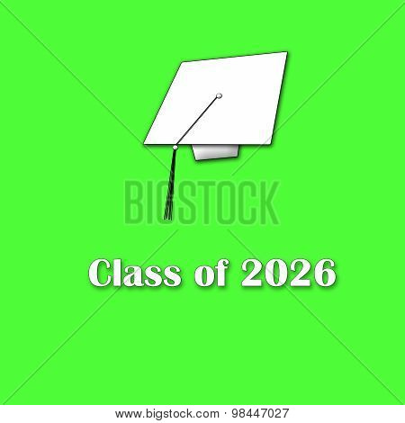 Class of 2026 White on Green Single Large