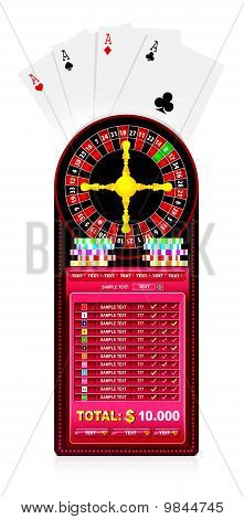 A Roulette Table With Various Gambling And Casino Elements
