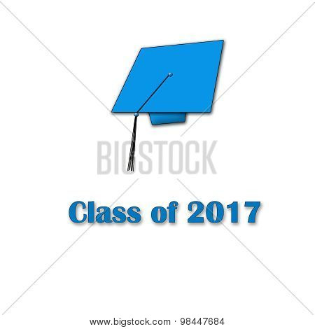 Class of 2017 Blue on White Single Large