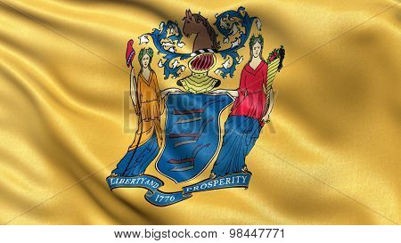 US state flag of New Jersey with great detail waving in the wind.