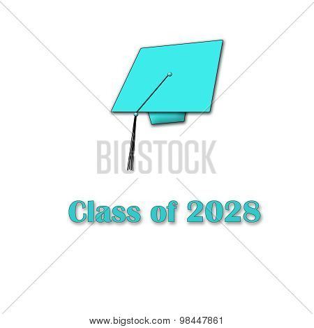 Class of 2028 Blue on White Single Large