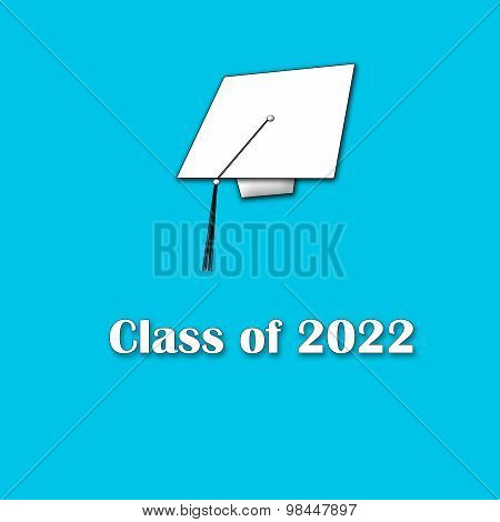 Class of 2022 White on Blue Single Large