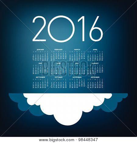 An Elegant 2016 Cloud Calendar