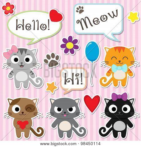 Stylized set of cute cartoon kittens