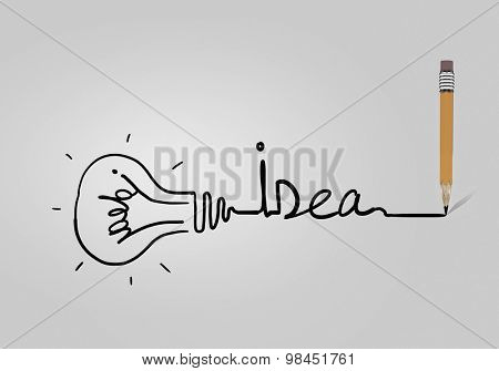 Abstract image with drawn light bulb on white background