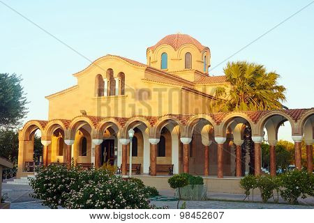 Cloister and facade of the Orthodox church