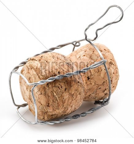Cork and wire isolated on a white background.