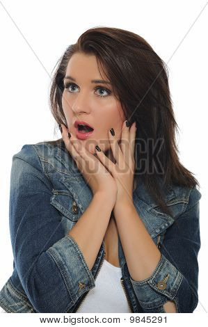 Expressions - Young Attractive Woman With Open Mouth Is Surprised. Isolated On White Background