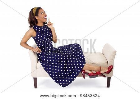 Woman in Blue Polka Dot Dress