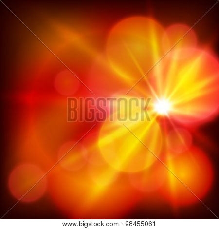 Hot Red Light Background Bright Sun Rays Effect
