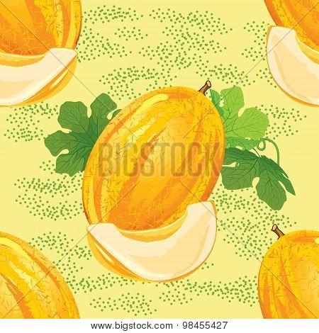 seamless pattern of ripe melon
