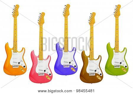 Row of Colourful Electric Guitars on White Background