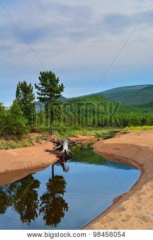 Mountain river on Lake Baikal