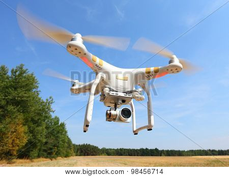 PILSEN CZECH REPUBLIC - AUGUST 11, 2015: Drone quadrocopter Dji Phantom 3 Professional with high resolution digital camera (High quality 4K). New tool for aerial photo and video.
