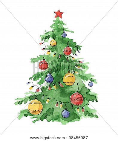 Illustration Christmas trees decorated