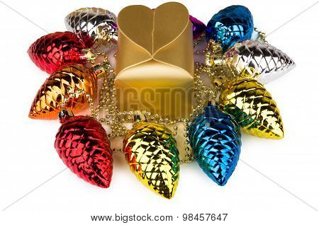 Golden Box And Toys In Form Of Fir Cones