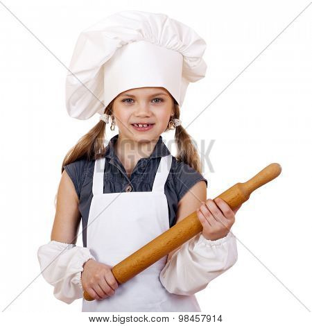 Ð¡ute little girl baking on kitchen and shows rolling-pin, isolated on a white background
