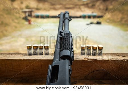 shooting, shooting on the street, ground, guns, shooting, shells on the ground, bullets on the table