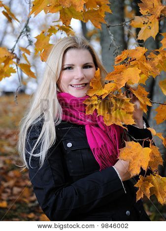 Beautiful Autumn Woman Near Yellow Tree Outdoors In Forest