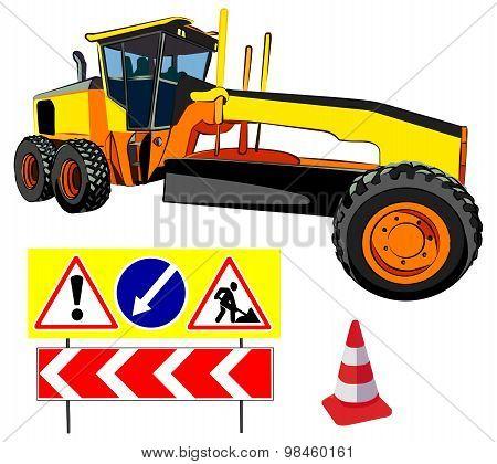 Grader and Road Signs, vector illustration