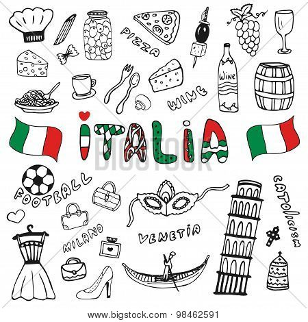 Doodle Hand Drawn Collection Of Italy Icons. Italy Culture Elements For Design. Vector Travel Set. H